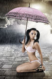 Sexy brunette with umbrella, s Royalty Free Stock Photos