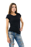Sexy brunette wearing blank black shirt Royalty Free Stock Photography