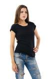 brunette wearing blank black shirt Royalty Free Stock Photography