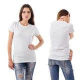 Sexy brunette wearing blank white shirt Stock Photo