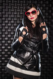 Sexy brunette wearing leather jacket Royalty Free Stock Photo