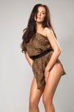 Sexy brunette wearing leopard fur Stock Photo