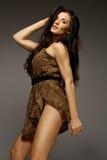 Sexy brunette wearing leopard fur Royalty Free Stock Photo