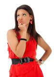 brunette wearing red summer dress stock photo