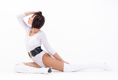 Sexy brunette in white body Royalty Free Stock Photos