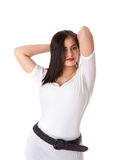 Sexy brunette in white shirt Stock Images