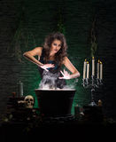 A sexy brunette witch making poison. A young and sexy brunette Caucasian witch in dark clothes making poison in a large pot. The image is taken on a dark and Stock Photo