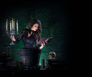 Brunette witch making poison in the dungeon. Young and brunette witch in dark clothes making poison in a large pot. The image is taken on a dark and foggy green stock photography