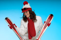 Sexy brunette wom in red and white sportive outfit Royalty Free Stock Image