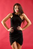 Sexy brunette woman in black dress Royalty Free Stock Photos