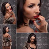 Sexy brunette woman at black lingerie posing on vintage wall Royalty Free Stock Photo