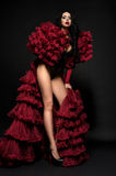 Sexy brunette woman in black underclothes and red fluffy bolero Royalty Free Stock Images