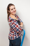 Sexy brunette woman in checkered shirt Royalty Free Stock Image