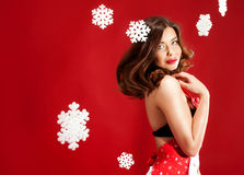 Sexy brunette woman, christmas time. Stock Photography