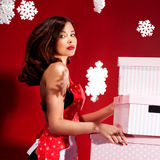 Sexy brunette woman, christmas time. Stock Photo
