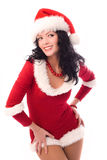 Sexy brunette woman dressed as Santa Royalty Free Stock Image