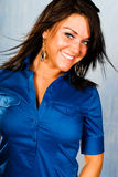 Sexy brunette woman fashion model in blue shirt Stock Photo