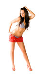 brunette woman fashion model in swimsuit royalty free stock images