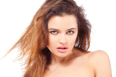 Sexy brunette woman with her hair blowing Stock Photos