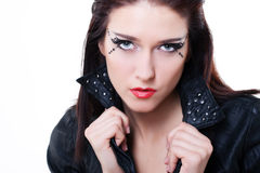 brunette woman in leather jacket Royalty Free Stock Photo