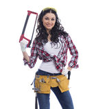 Sexy brunette woman mechanic with a wrench Stock Images