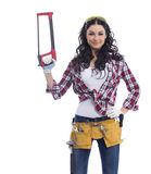 Sexy brunette woman mechanic with a wrench Royalty Free Stock Photo
