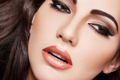 Sexy brunette woman model, fashion glamour make-up Stock Images