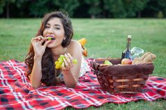 Sexy Brunette Woman On Picnic Blanket In The Park Stock Images