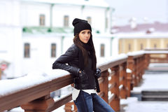 Sexy brunette woman outdoor portrait in winter Royalty Free Stock Photo