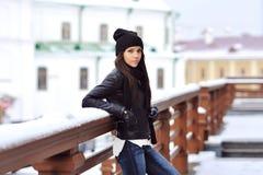 brunette woman outdoor portrait in winter Royalty Free Stock Photo