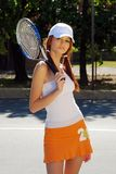 brunette woman playing sports royalty free stock photo