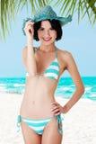 Sexy brunette woman posing in bikini Royalty Free Stock Photos