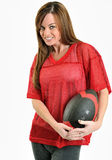 Sexy brunette woman in red mesh football jersey Royalty Free Stock Image