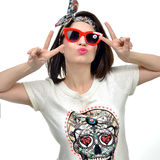 Sexy Brunette Woman in red sunglasses showing peace sign by hand Stock Photos