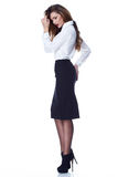brunette woman skinny business style dress skirt Stock Photos
