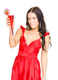Brunette Woman With Strawberry Cocktail Royalty Free Stock Photography
