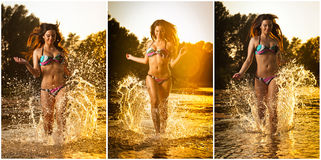 Sexy brunette woman in swimsuit running in river water. Sexy young woman playing with water during sunset. Beautiful woman Royalty Free Stock Photos
