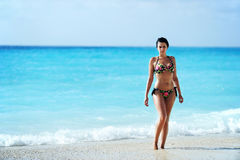 Sexy brunette woman on a tropical exotic beach. A shot taken in Greece of a young sexy brunette girl on Myrtos Beach - Kefalonia Royalty Free Stock Image