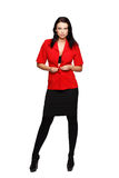 Sexy brunette woman undress red suit isolated Royalty Free Stock Image