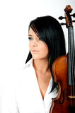 Sexy brunette woman with violin Stock Images