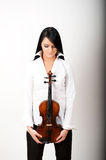 Sexy brunette woman with violin Royalty Free Stock Image
