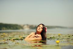 Sexy brunette woman in water Royalty Free Stock Image