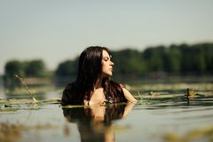 Sexy brunette woman in water Stock Photography