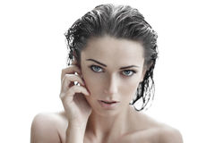 Sexy brunette woman with wet hair Royalty Free Stock Photography