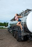 Sexy young woman and truck Stock Photography
