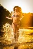 Sexy Brunettefrau im Badeanzug, der in Flusswasser läuft Sexy junge Frau, die mit Wasser während des Sonnenuntergangs spielt Schö Stockfotografie