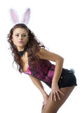 Bunny girl. Isolated over white stock image