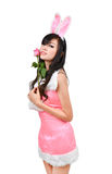 bunny girl hold pink rose Royalty Free Stock Photo