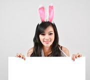 Sexy bunny girl hold white board Royalty Free Stock Photography