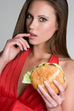 Sexy Burger Woman Stock Images
